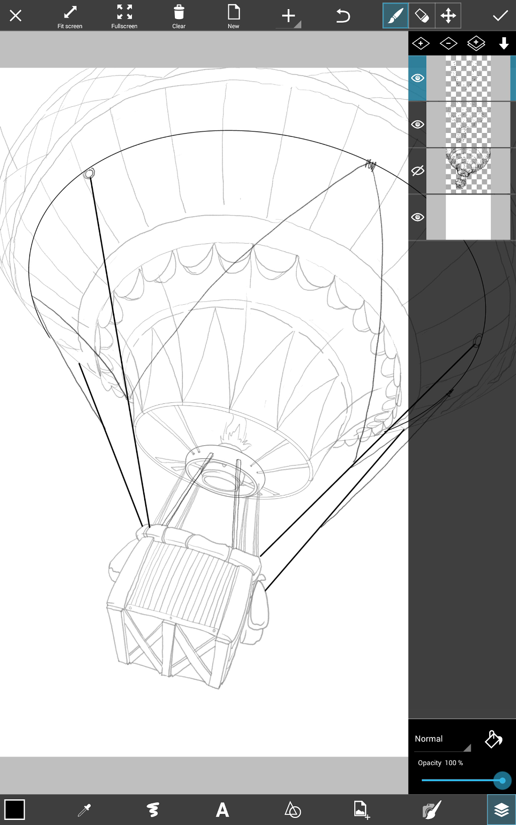 how ti draw a hot air balloon step by step