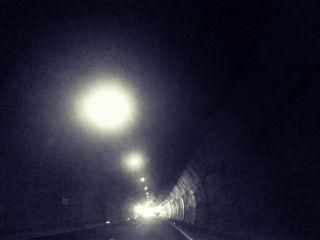tunnel light autobahn black & white