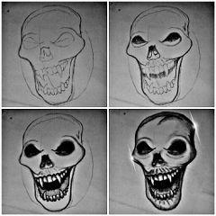 popart pencilart blackandwhite skull bone