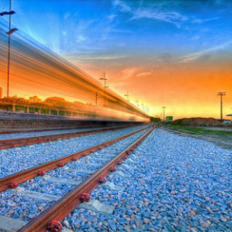 color colorful nature train sunset