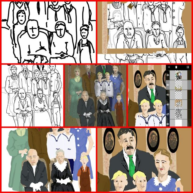 how to draw a family portrait step by step