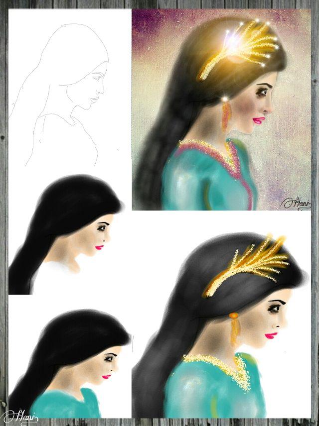 princess drawing steps